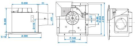 Panasonic ventilator fan dimension ceiling