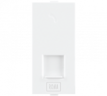 Roma White ,RJ 11, Telephone Jack Single With Shutter