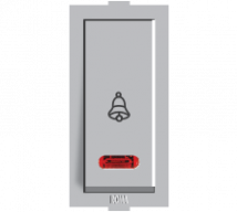 Roma Silver, 10A, Bell Push Switch With Neon
