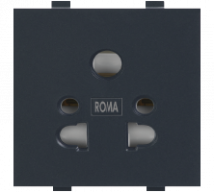 Roma Black Roma Black, 10A, Multi Socket For Cell Phone Pin Or 2Pin & 3Pin Features, Specifications - Sockets Online India - Panasonic Life Solutions India