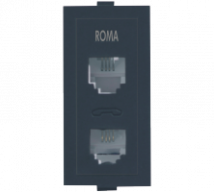 Roma Black Roma Black, RJ 11 Telephone Jack Double W/o Shutter  - Features, Specifications - Support Module Online India - Anchor by Panasonic