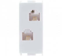 Woods Telephone Jack RJ11 Double W/O Shutter - Features, Specifications - Support Module Online India - Anchor by Panasonic