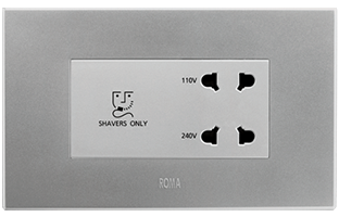 20VA, Shaver Socket with Transformer (With 4M Square Plate), Silver