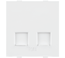 Roma White,  RJ 11, Telephone Jack Double With Shutter