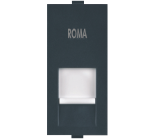 Roma Black, RJ 11, Telephone Jack Single With Shutter