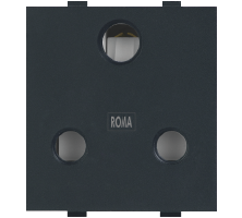 Roma Black, 16A, 3 Pin Socket