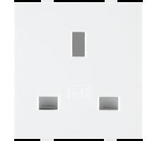 Roma White, 13A, Flat Pin English Socket