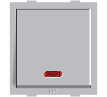 Roma Silver, 20A, 1 Way Switch With Neon