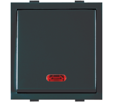 Roma Black, 20A, 1 Way  Dura Switch With Neon