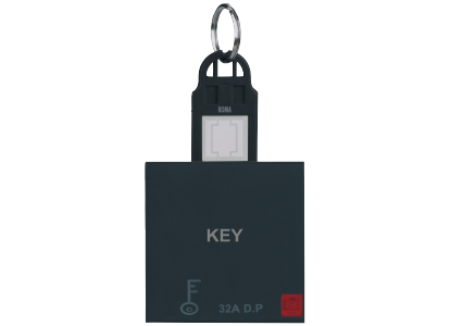 Roma Black, 32A D.P Main Switch with Key Ring Tag 2 Module