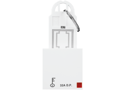 Roma White, 32A, D.P Main Switch with Key Ring Tag 2 Module