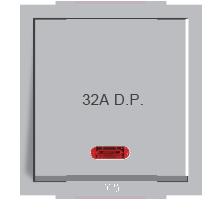 Roma Silver, 32A, D.P, 1 Way Switch With Neon