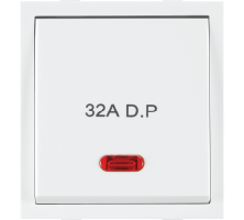 Roma White, 32A, D.P 1 Way Switch With Neon (Heavy Duty Double Pole Main Switch)