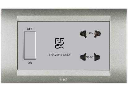 Roma Silver, Shaver Socket 110/240V - with transformer 4 module