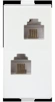 Roma Plus, Double RJ 11 Telephone Socket W/O Shutter, 1M