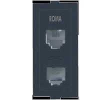 Roma Black, RJ 11 Telephone Jack Double W/o Shutter