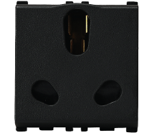 16/6A, 3 Pin, 2 Module Twin Black Socket