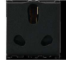 16/6A, 3 Pin, 2 Module Twin Black Socket