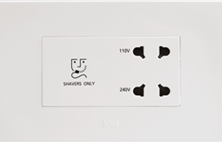20VA, Shaver Socket with Transformer (With 4M Square Plate), White