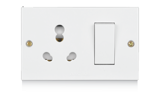 20A & 10A, Uni Switch Socket Combined Units with (2 Fixing Holes)