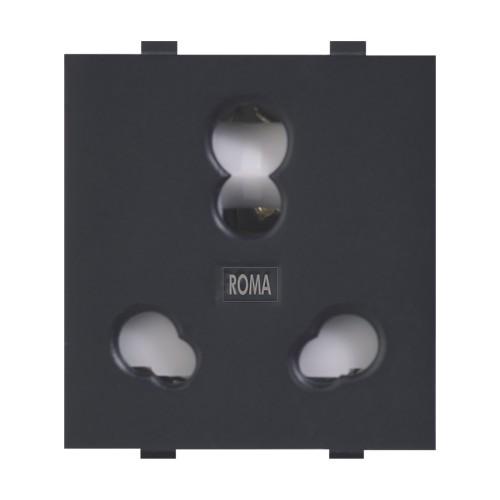 25 & 10A Twin Socket (Heavy Duty) - Matt Black