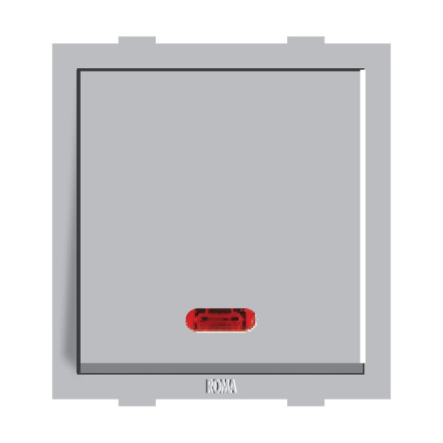 10AX 1 Way Switch With Neon - Silver
