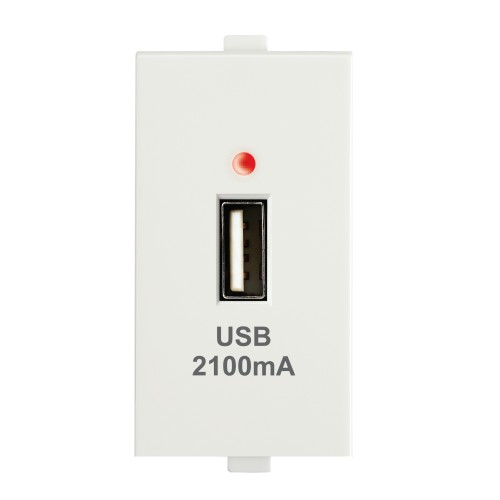USB charger - 2.1A, 1M, 1Port (White)
