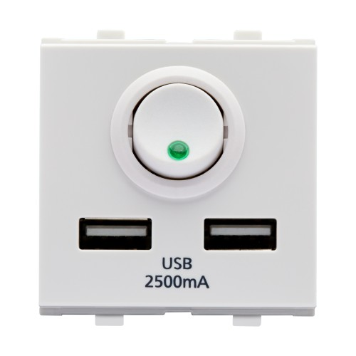 2M, 2 Port, USB Charger,WH